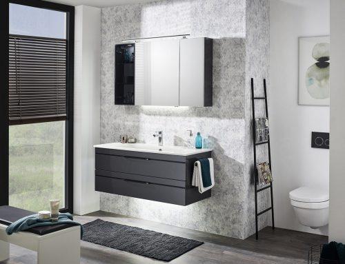 Badmöbel-Set 120cm mit Waschtisch, Waschtischunterschrank & Spiegelschrank