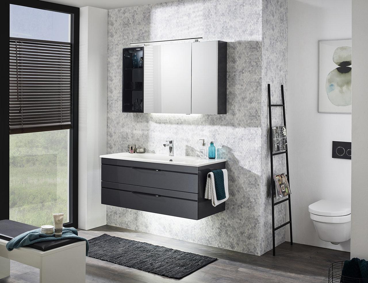 Badmöbel Set 20cm Waschtisch, Unterschrank, Spiegelschrank ...