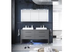 Pelipal 9025 Badmöbelset Doppelwaschplatz mit Aufsatzwaschbecken, 160 cm
