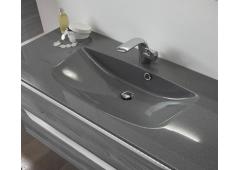 Pelipal SOLITAIRE 6025 Mineralmarmor-Waschtisch, Grau-Metallic, 67 cm
