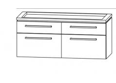 Puris Cool line Waschtischunterschrank LED  für Doppelwaschtisch, 4 Abteile, 120 cm