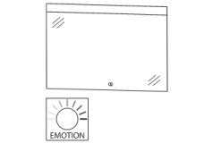 Puris Xpression Flächenspiegel, LED-Beleuchtung oben, 90 cm