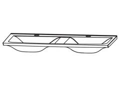 Puris Brillant Glas Doppelwaschtisch, Quarzitgrau, 120 cm