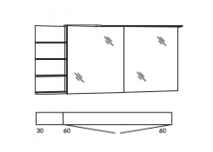 Marlin Marlin Bad 3160 Spiegelschrank 2 Türen und Regal links mit Spiegel, Acryloberboden mit LED-Beleuchtung, Lichtfarbe n