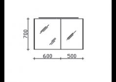 Pelipal 6010 Spiegelschrank inkl. LED-Aufsatzleuchte und seitlicher LEDplus Effektbeleuchtung, 112 cm