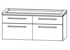Puris Cool line Waschtischunterschrank, Doppelwaschtisch, ausgefräst, 120 cm