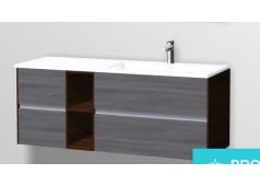 Pelipal 6010 Waschtischunterschrank mit LED Profil für Grifffugen, 4 Auszüge,132 cm