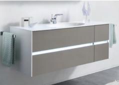 Pelipal 6010 Waschtischunterschrank mit LED-Profil für Grifffugen, 4 Auszüge, 132 cm