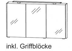 Puris D.Light Spiegelschrank mit Aufbauleuchte, 122cm