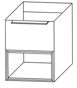 Plattenunterschrank mit Einschubregal unten, 60 cm