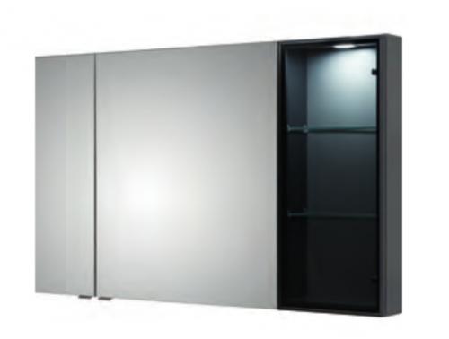 Spiegelschrank mit Vitrine, 120 cm