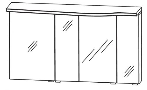 Spiegelschrank-Set, geschwungene Ausführung links, 140 cm