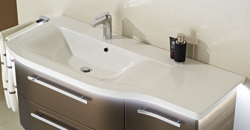 Mineralmarmor-Waschtisch, LED-Fugenbeleuctung optional, 125 cm