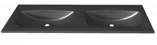 Mineralmarmor-Doppelwaschtisch, Schwarz-Metallic, 132 cm