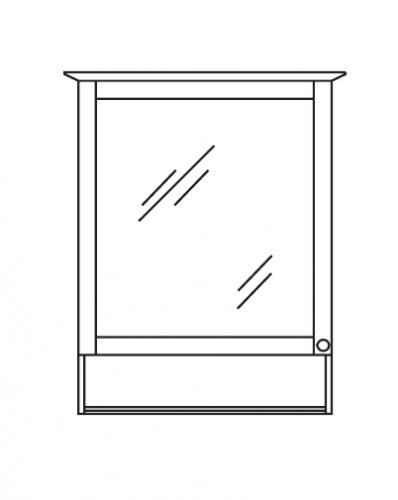 Spiegelschrank mit offenem Fach, 65 cm