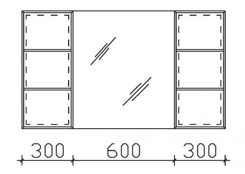 Spiegelschrank mit 2 Vitrinen, 120 cm