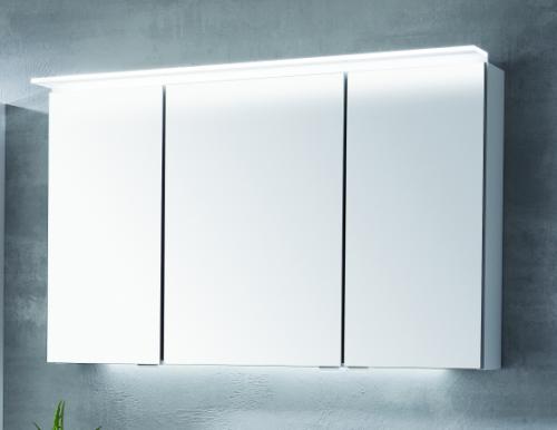 Spiegelschrank mit LED-Flächenleuchte im Kranz, 90 cm