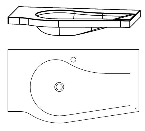 Glaswaschtisch, Optiwhite, rechts, 90 cm