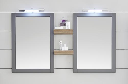 Flächenspiegel inkl. Regal und Aufsatzleuchten, 122 cm