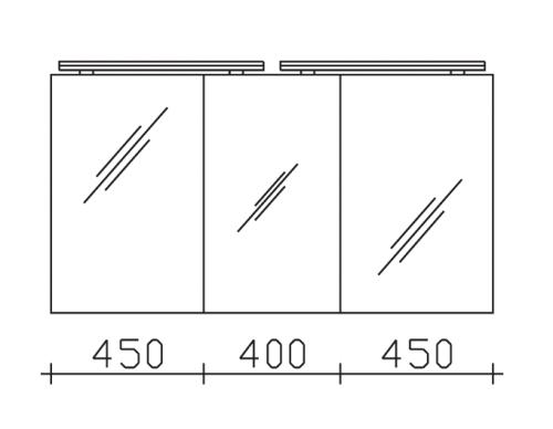 Spiegelschrank inkl. 2 LED-Aufsatzleuchten, 130 cm