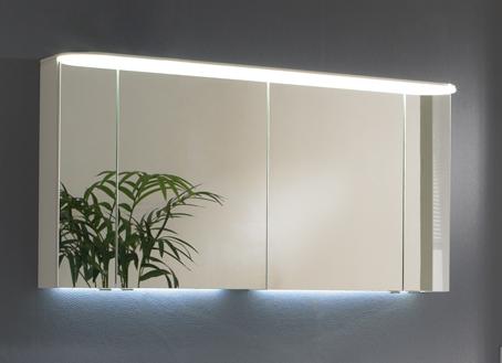 Spiegelschrank mit LED-Flächenleuchte im Kranz, 150 cm
