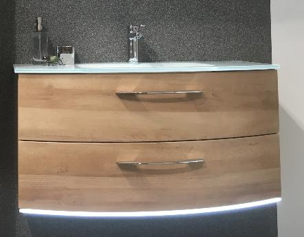 Waschtischunterschrank mit LED-Beleuchtung, 2 Auszüge, 100 cm
