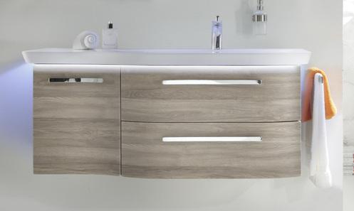 Waschtischunterschrank, 2 Auszüge, 1 Drehtür, 120 cm