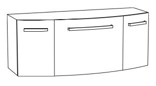 Unterschrank für Mineralmarmor-Waschtisch, 120 cm