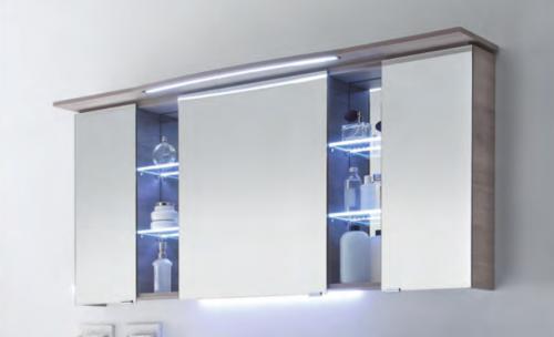 Spiegelschrank mit LED-Streifen im Kranz, Steckdose AUßEN, 158 cm