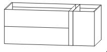 Waschtischunterschrank, Ablage rechts, Push to open, 126 cm