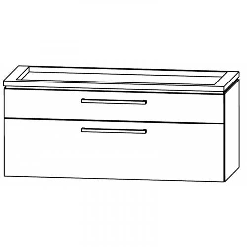 Waschtischunterschrank, Doppelwaschtisch, ausgefräst, 120 cm