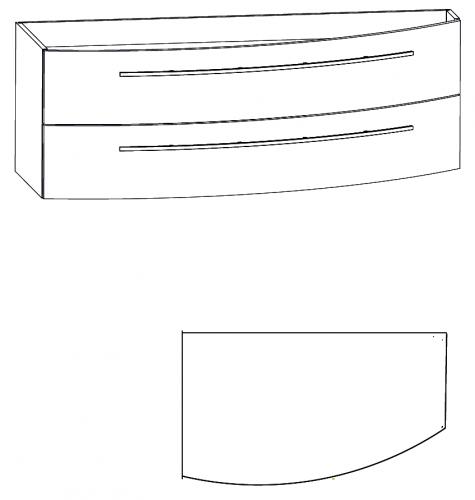 Waschtischunterschrank, Verjüngung rechts, 140 cm