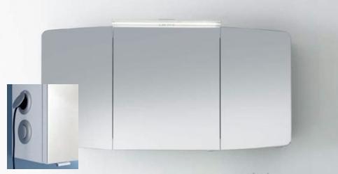 Spiegelschrank inkl. Aufsatzleuchte, 140 cm, Steckdose AUßEN