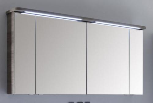 Spiegelschrank mit LED-Streifen im Kranz, 150 cm, Steckdose AUßEN