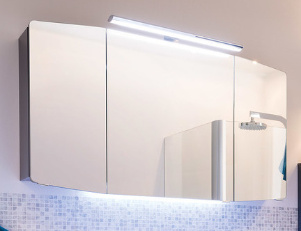 Spiegelschrank inkl. Aufsatzleuchte, 140 cm, Steckdose INNEN