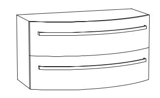 Unterschrank 2 Auszüge für Mineralmarmor-Waschtisch, 90 cm