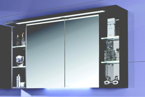 2D Spiegelschrank mit zwei Regalen, 120 cm
