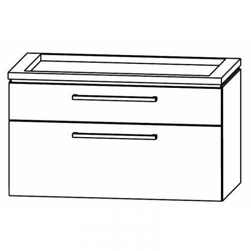 Waschtischunterschrank, ausgefräst, 90 cm