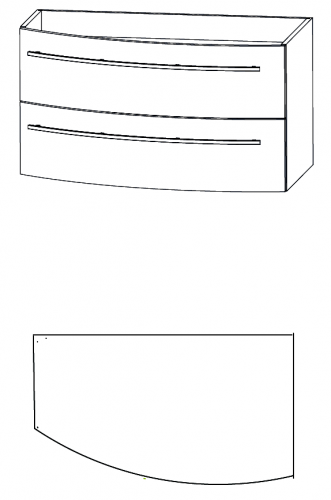 Waschtischunterschrank, Verjüngung links, 90 cm