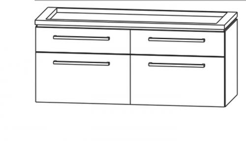 Waschtischunterschrank  für Doppelwaschtisch, 4 Abteile, 120 cm