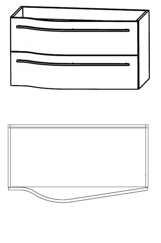 Waschtischunterschrank für Ablage rechts, 90 cm