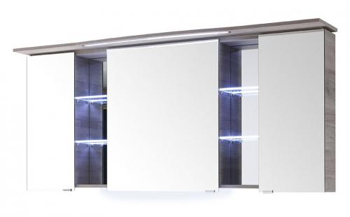 Spiegelschrank mit LED-Streifen im Kranz, Steckdose INNEN, 158 cm