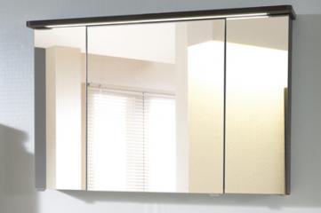 Spiegelschrank mit LED-Streifen im Kranz, 120 cm, Steckdose AUßEN