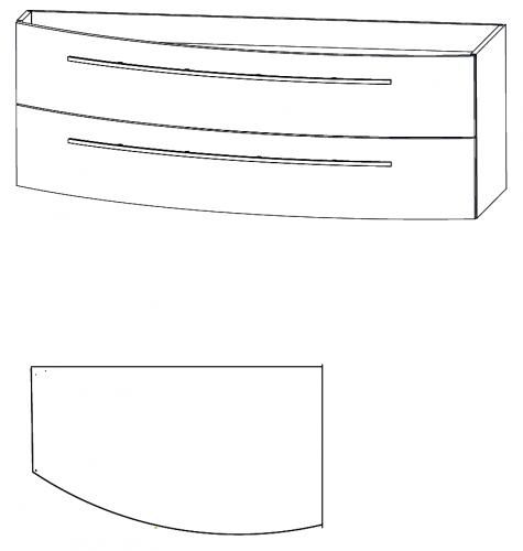 Waschtischunterschrank, Verjüngung links, 140 cm