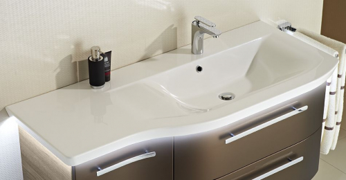 Mineralmarmor-Waschtisch, weiß,  LED-Fugenbeleuchtung optional, 125 cm