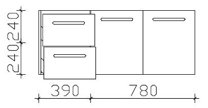 Waschtischunterschrank, 2 Auszüge, 2 Drehtüren, 120 cm