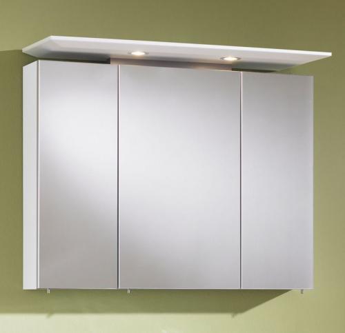 Spiegelschrank, gerader Oberboden inkl. 2x20W Halogenstrahler, 90 cm