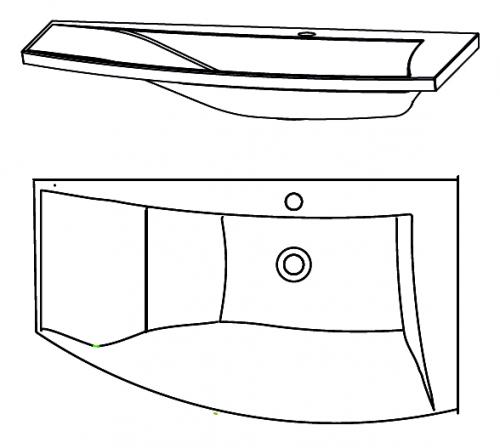 Mineralguss Waschtisch mit Ablage links, 90 cm