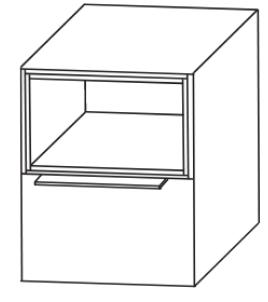 Plattenunterschrank mit Einschubregal oben, 40 cm