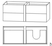 Waschtischunterschrank für Einzelwaschtisch-Lösung, Ablage links, Push to open, 126 cm